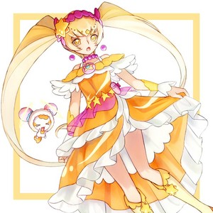 Cure Sunshine and Potpourri as Cure Soleil and Fuwa
