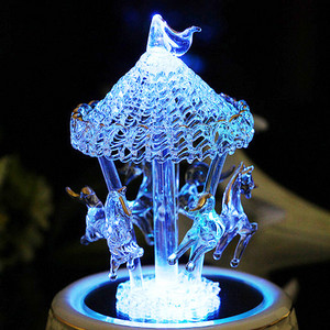 Glass Carousel Musical Box