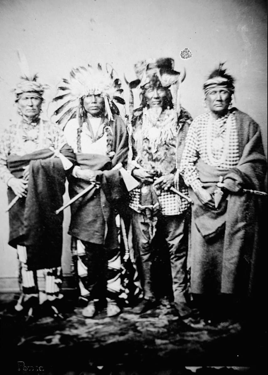 Group Portrait of Four Ponca Men - Shindler - 1858