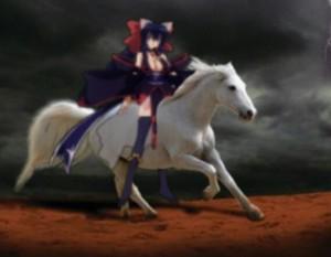 Himari Noihara riding her Beautiful White Horse