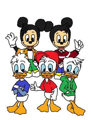 Huey Dewey and Louie Duck Ducktales Reboot Original and Morty and Ferdie Fieldmouse The Mouston