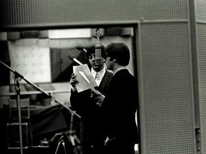 John and Paul in the studio