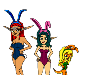 Keira Hagai, Tess, and Ashelin Praxis from Jak and Daxter (Bunnies)2 Ottsel