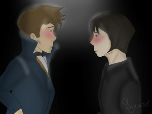 Newt/Tina Drawing - salamandre Eyes