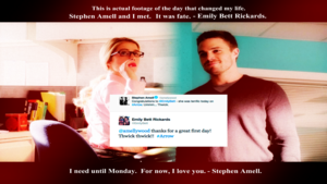 Stephen Amell and Emily Bett Rickards 바탕화면