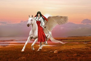 Tomoe riding on her Beautiful White Pegasus