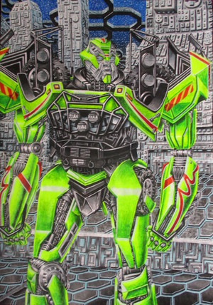 Transformers AOE ratchet ( the ara, rajah ) watercolour on paper 2019 Edina Donald