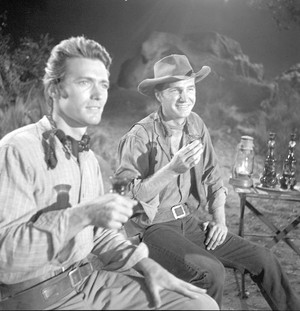 Clint Eastwood and Eric Fleming in Rawhide