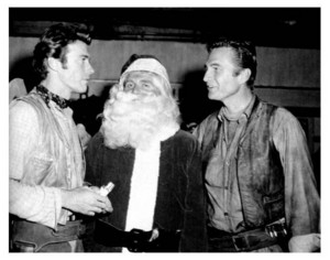 Clint Eastwood and Eric Fleming with Santa ~Rawhide promo