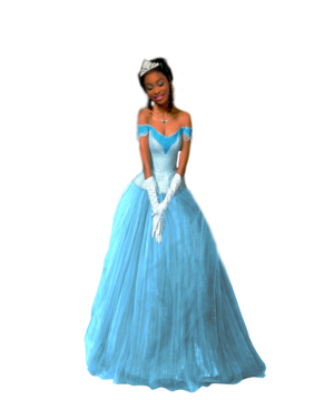 Coco Jones as Tiana (Blue Dress)