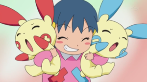 Dawn with Plusle and Minun