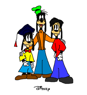 Goofy and his Nephew Gilbert(Gilly) and his Son Max Goof
