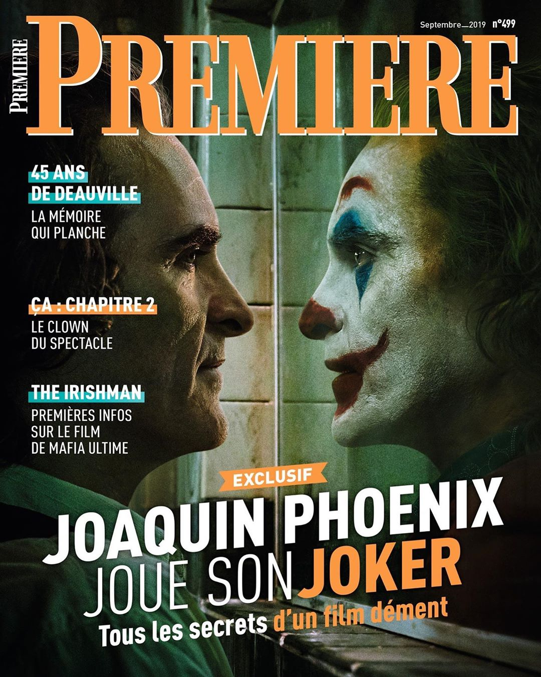Joaquin Phoenix as The Joker on the cover of Premiere Magazine