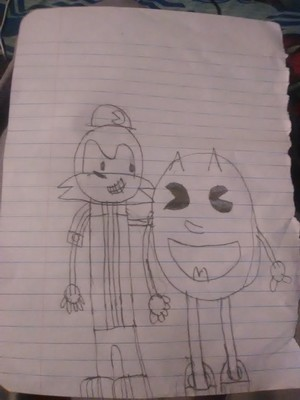 Klonoa (Sonic) and PAC-MAN (Tails) door ganondork123