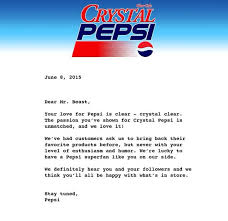 Letter Pertaining To Crystal Pepsi