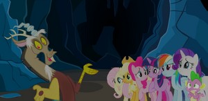 MLP Fanart Mane Six, Spike, and Discord in a Dark Cave