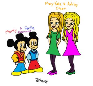 Morty and Ferdie Fieldmouse and Mary-Kate and Ashley Olsen (Twins Friends)