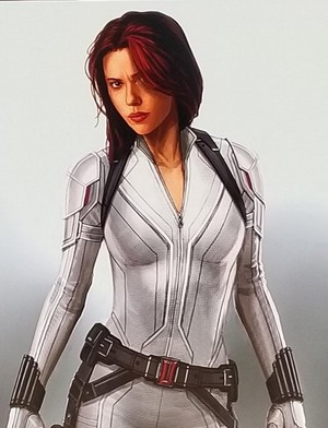Natasha's white suit for BLACK WIDOW (2020) Concept art