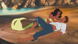 Tiana n Naveen in the Little Mermaid