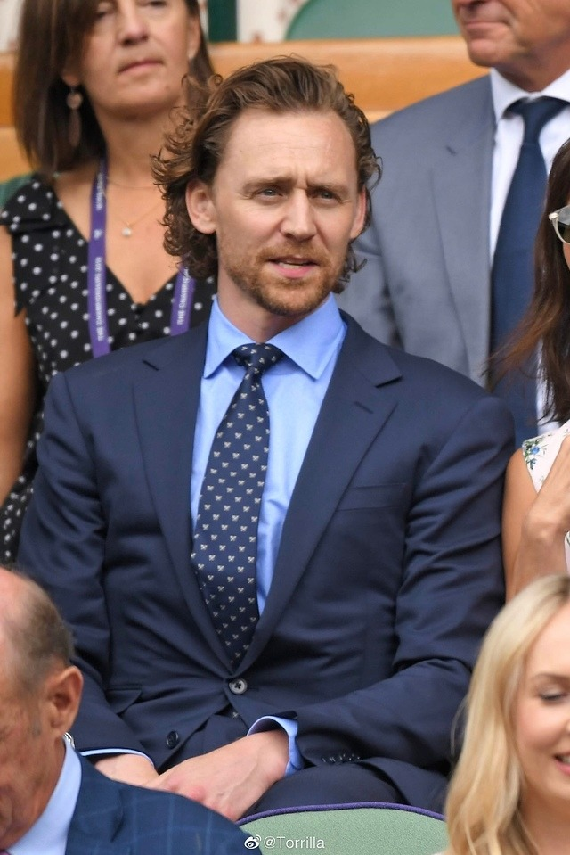 Tom Hiddleston attends Men's Final Day at the Wimbledon 2019 on July 14 (London, England)
