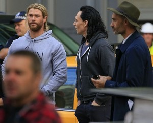 Tom and Chris on the set of Thor: Ragnarok in Brisbane, Australia (August 21, 2016)