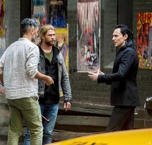 Tom and Chris on the set of Thor: Ragnarok in Brisbane, Australia (August 21, 2016)