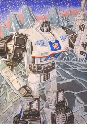 Transformers POTP Jazz ( the انجیر ) watercolour on paper 2018 Edina Donald