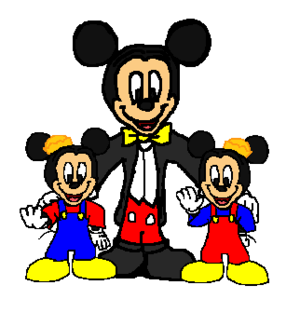 Walt Disney Mickey topo, mouse and his Twin Nephews Morty and Ferdie Fieldmouse