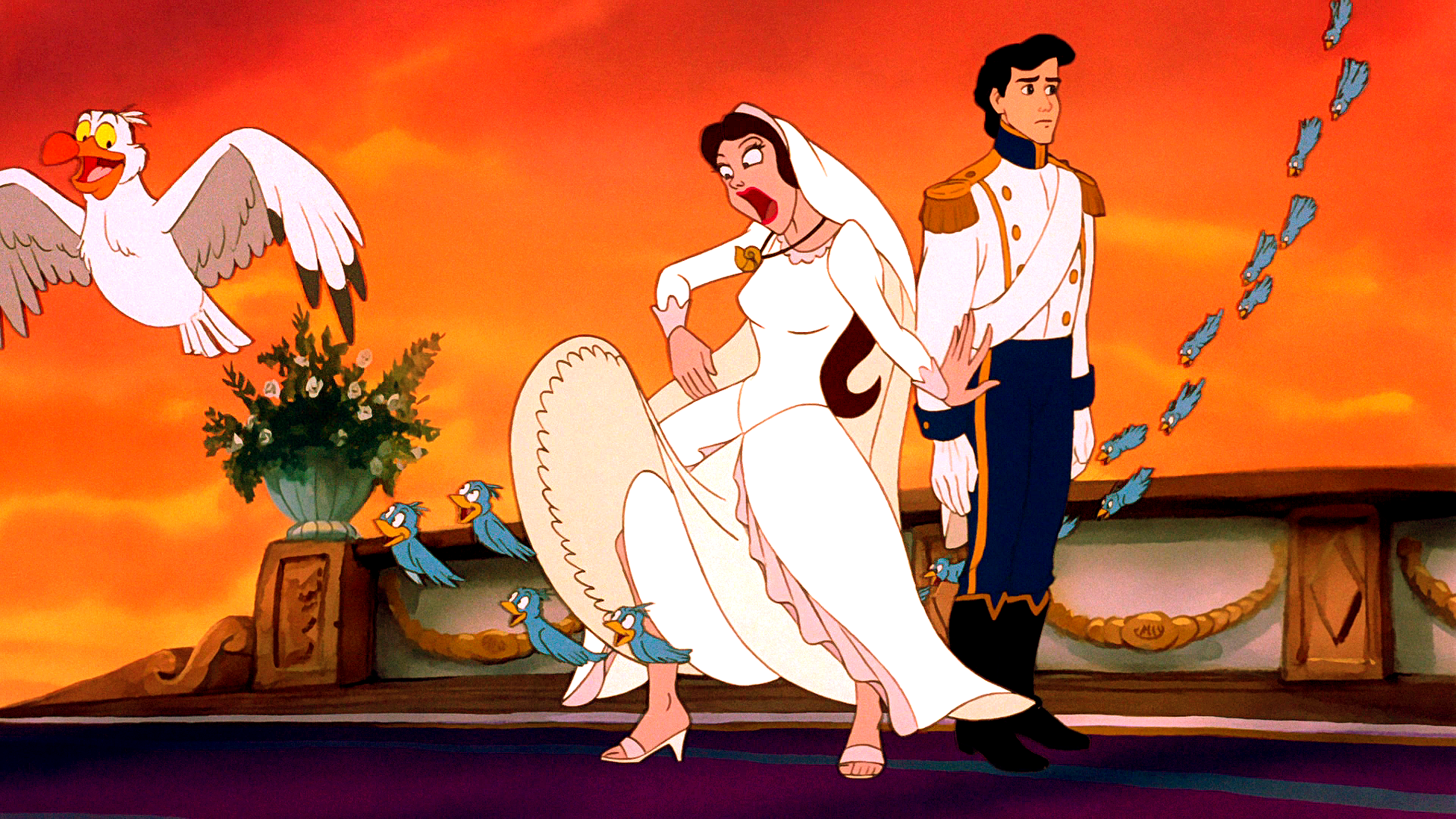 Walt Disney Screencaps – Scuttle, The Blue Birds, Vanessa & Prince Eric
