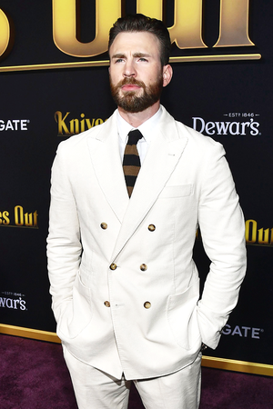 "Chris Evans attends the premiere of ""Knives Out"" at Regency Village Theatre on November 14, 201"