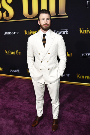"""Chris Evans attends the premiere of """"Knives Out"""" at Regency Village Theatre on November 14, 201"""