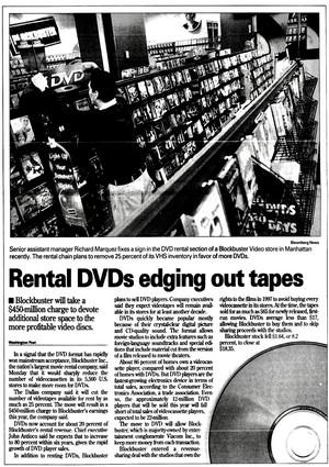 'Rental DVDs Edging Out Tapes' - Blockbuster bài viết from 2001