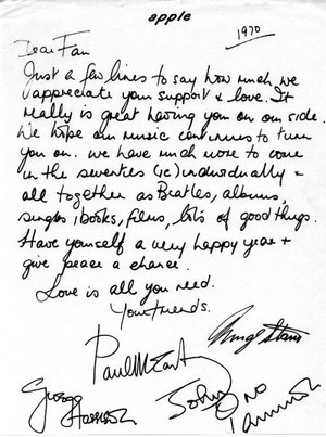 Beatles Letter To Фаны