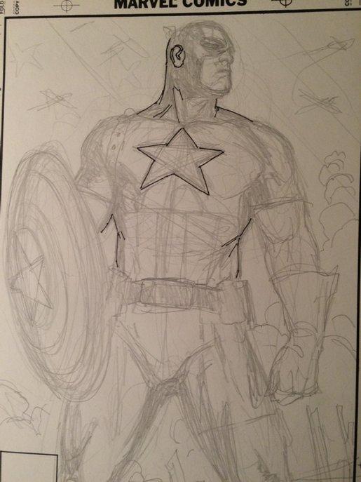 Captain America by Ron Garney (Art Process)