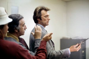 Clint Eastwood and director Don Siegel filming a scene in Dirty Harry (1971)