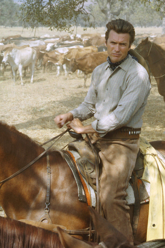 Clint Eastwood as Rowdy Yates on the set of Rawhide