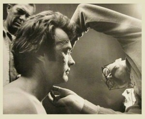 Clint Eastwood getting his make up on the set of Dirty Harry