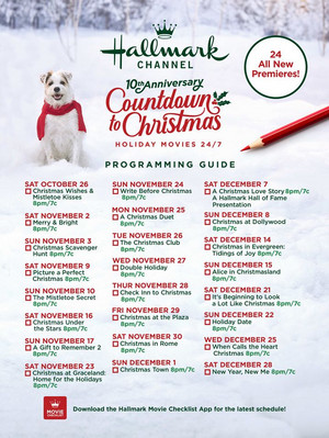 Hallmark's Countdown to Krismas Movie Checklist - 2019