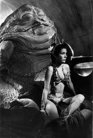 Jabba the Hutt with Slave Leia in the Palace