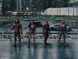 Justice League (2017) Still - Aquaman, Wonder Woman, Flash and Cyborg