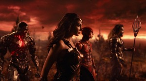 Justice League (2017) Still - Cyborg, Wonder Woman, The Flash and Aquaman