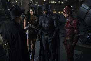 Justice League (2017) Still - Gordon, Flash, Batman and Wonder Woman