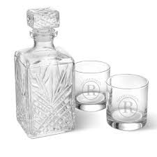 Monogrammed Low Ball Glass And Decanter Set