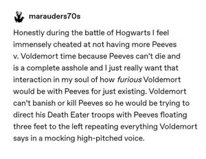 Peeves at the Battle of Hogwarts