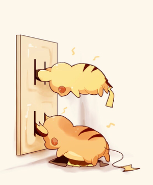 pikachu and Raichu charging themselves up