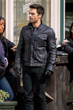 Sebastian Stan on the set of 'Falcon and the Winter Soldier' on November 13, 2019