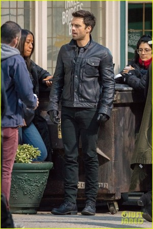 Sebastian Stan on the set of The сокол and The Winter Soldier