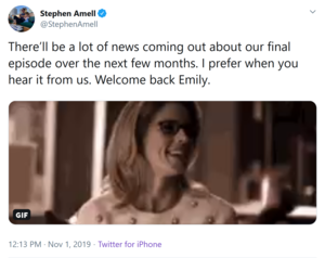Stephen Amell announces best friend Emily Bett Rickards 'Arrow' return!