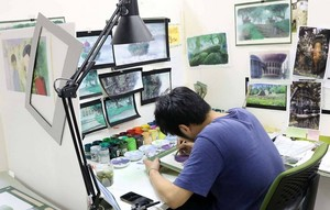 Studio Ponoc Background artists hard at work on Mary and the Witch's bunga