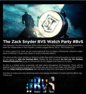 The Batman v Superman Watch Party: November 16, 2019